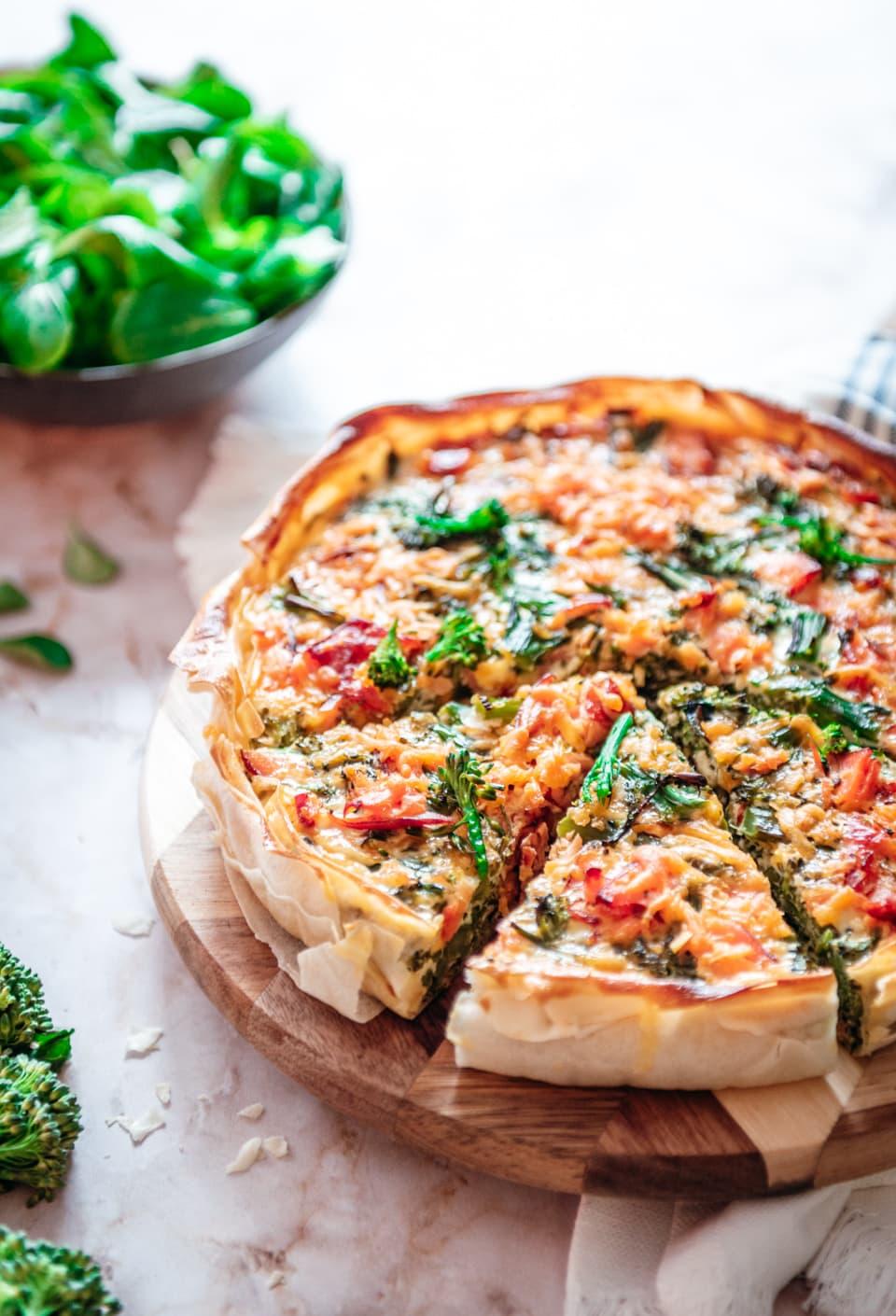 Quiche met filodeeg, broccoli en zalm