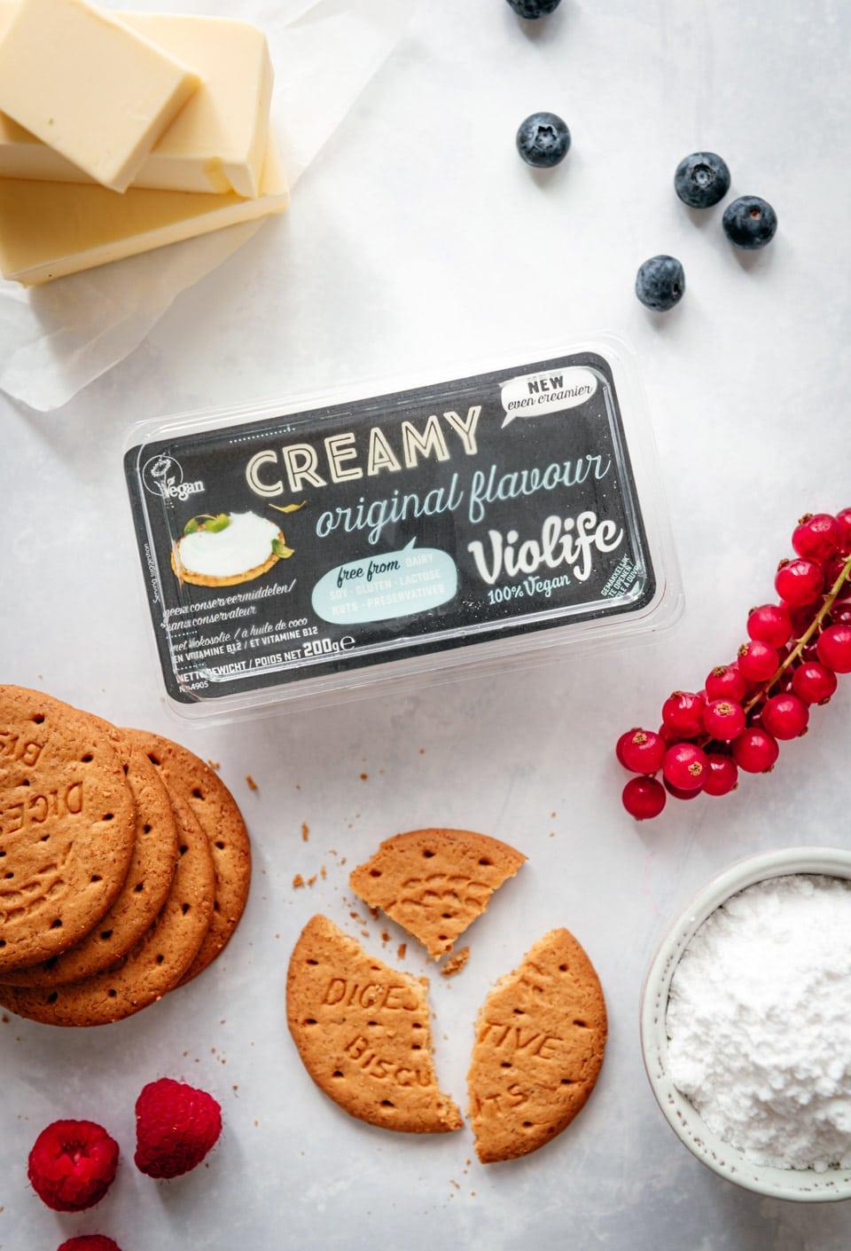 Ingredienten vegan cheesecake