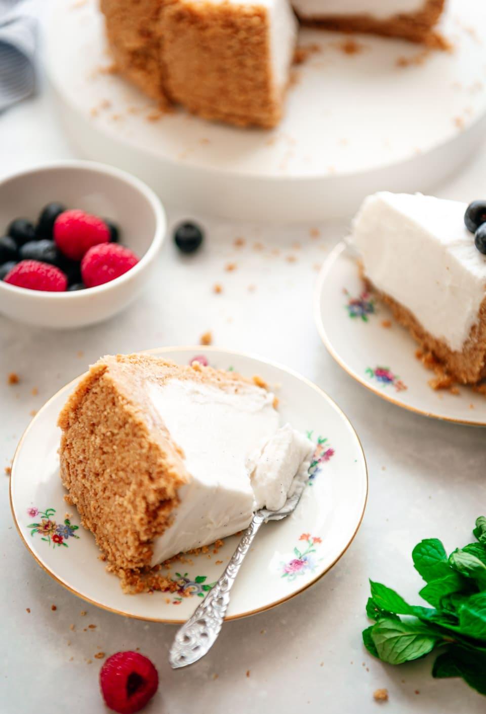 Stukje vegan cheesecake