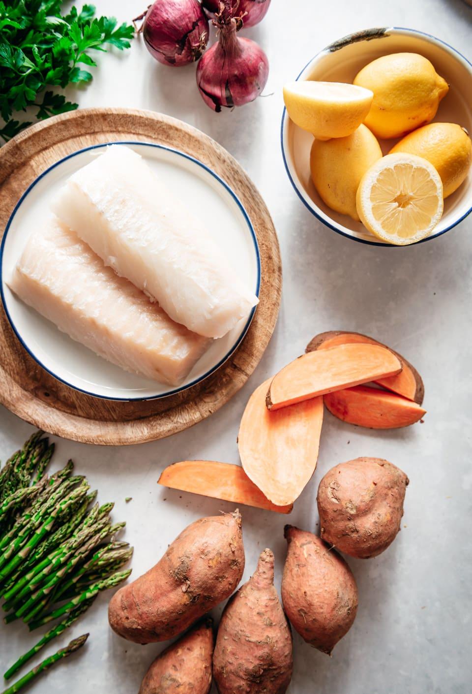 Ingredienten voor kabeljauw uit de oven
