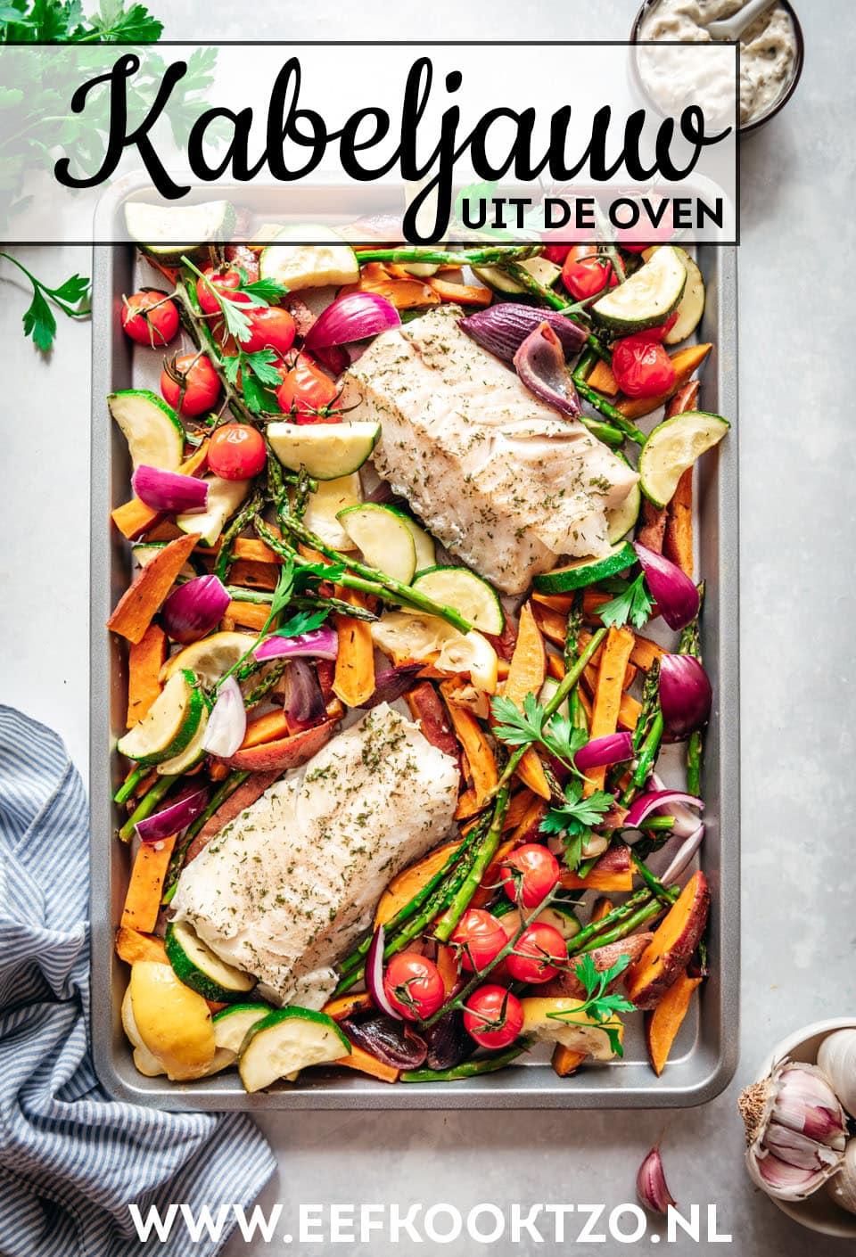 Kabeljauw uit de oven Pinterest Collage