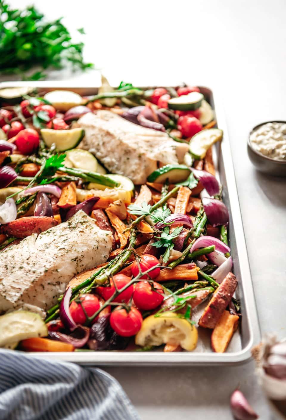 Kabeljauw uit de oven met groenten