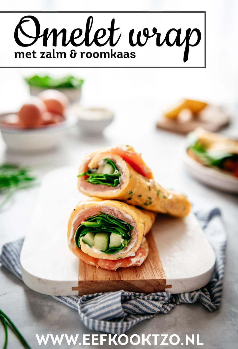 Omelet wrap met zalm Pinterest Collage