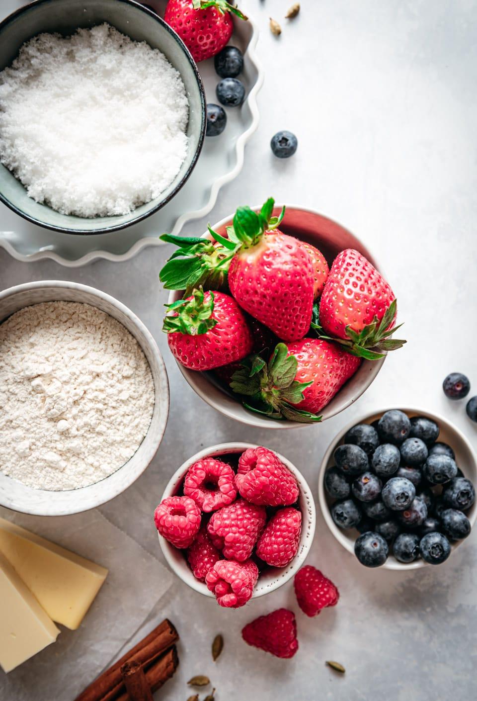 Rood fruit crumble ingredienten