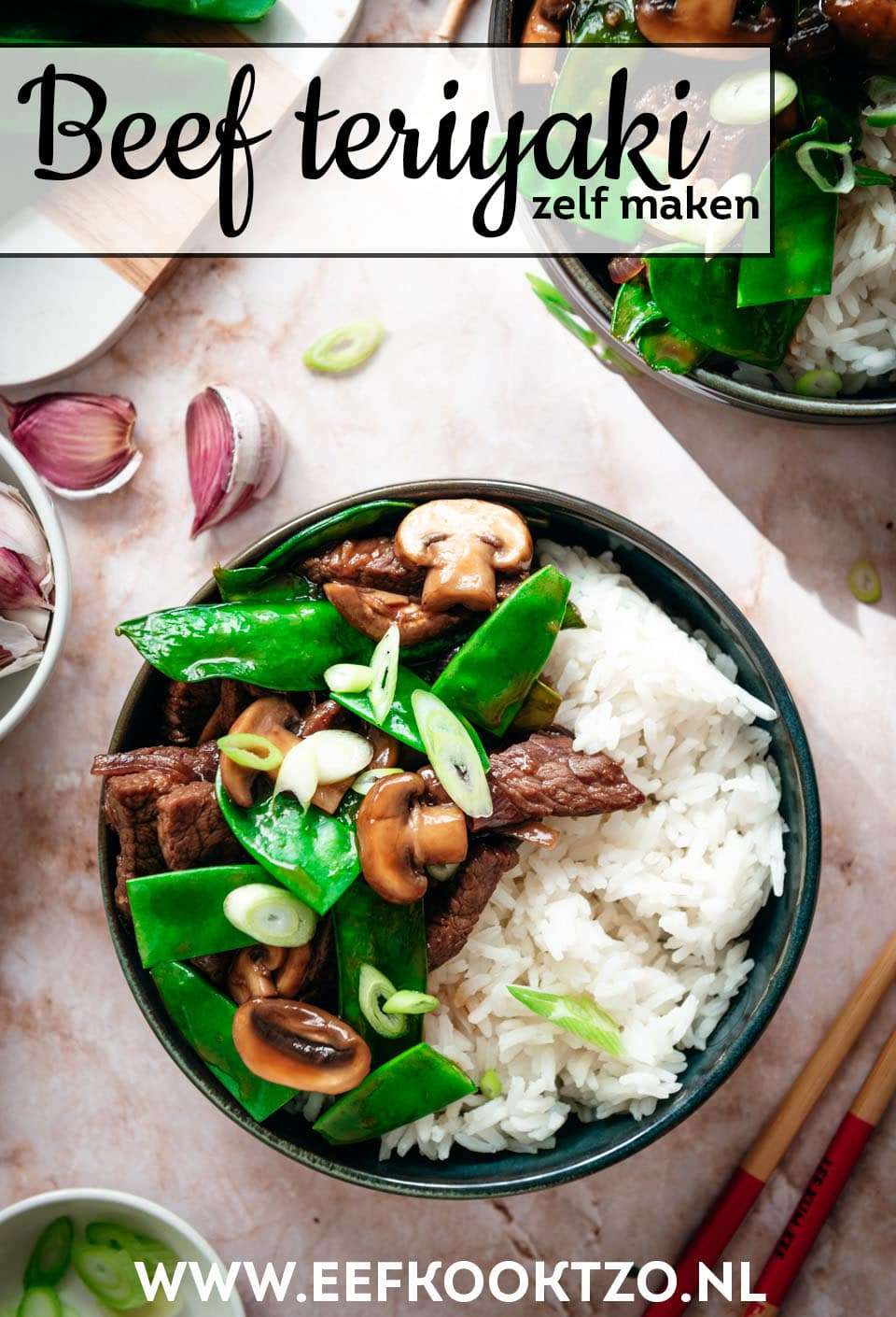 Beef teriyaki Pinterest Collage