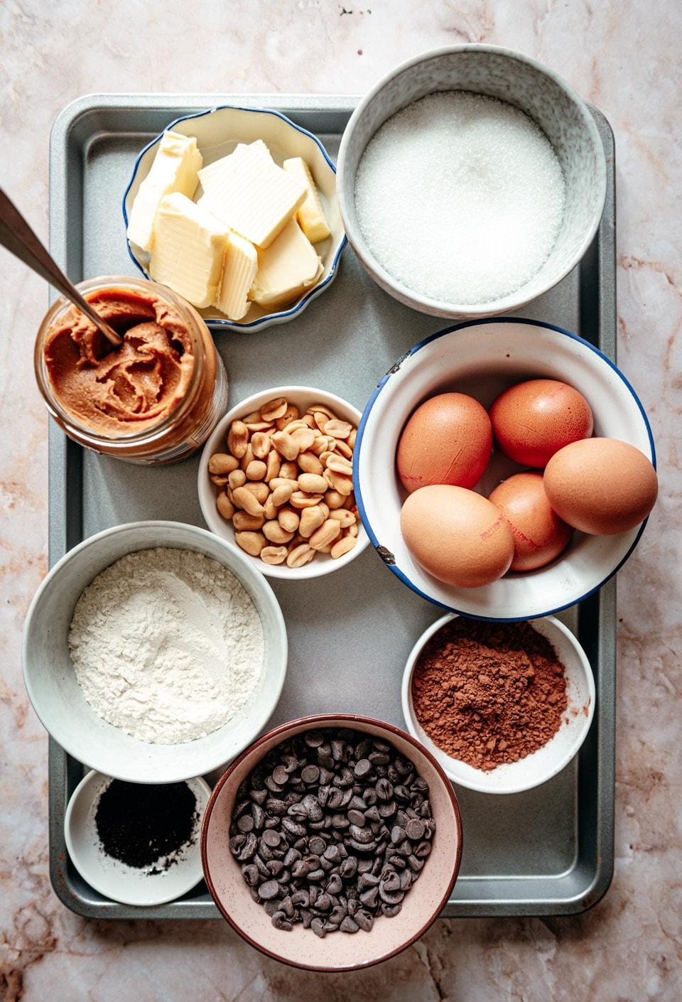 Ingredienten pindakaas brownies