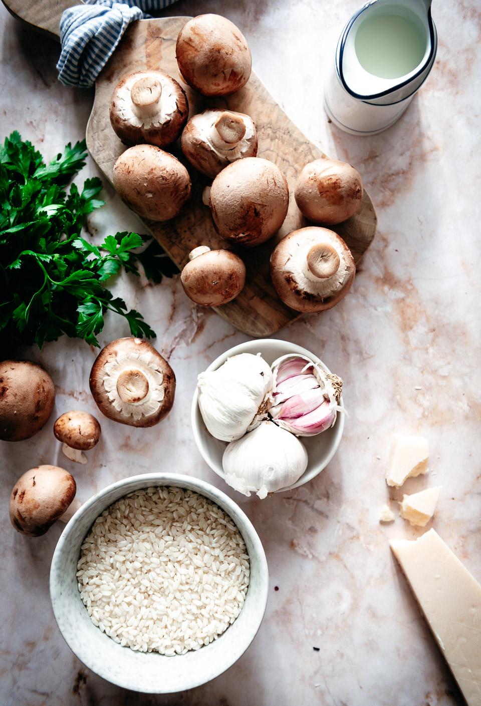 Ingredienten risotto met champignons