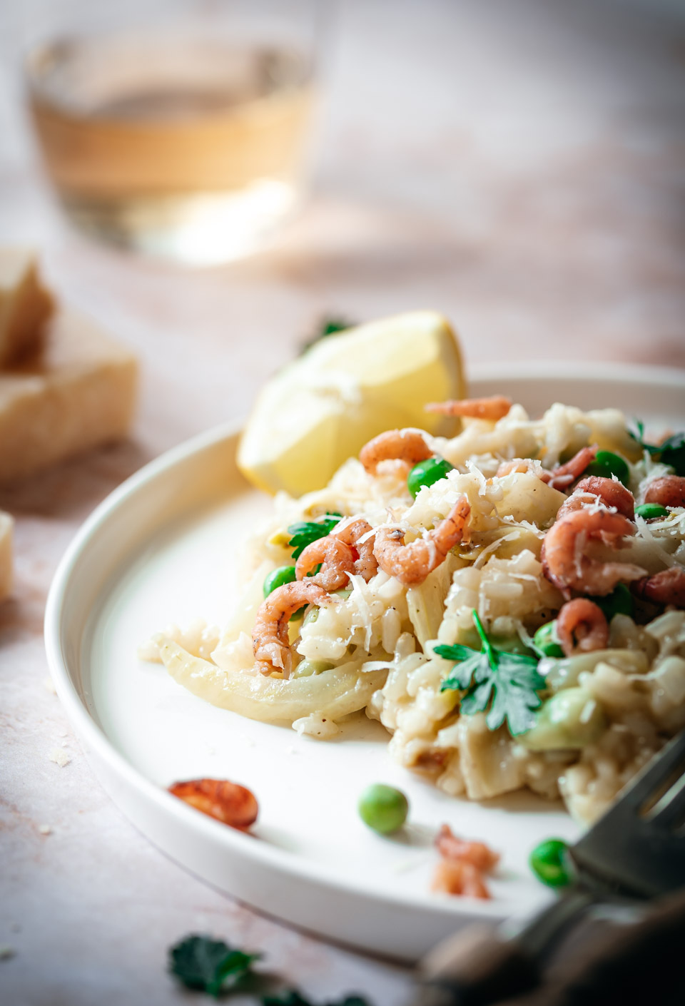 Romige risotto met venkel doperwten en garnalen