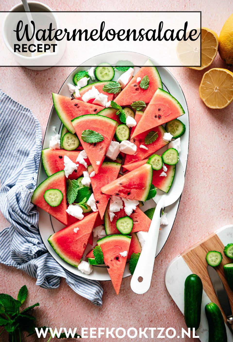 Watermeloensalade Pinterest Collage