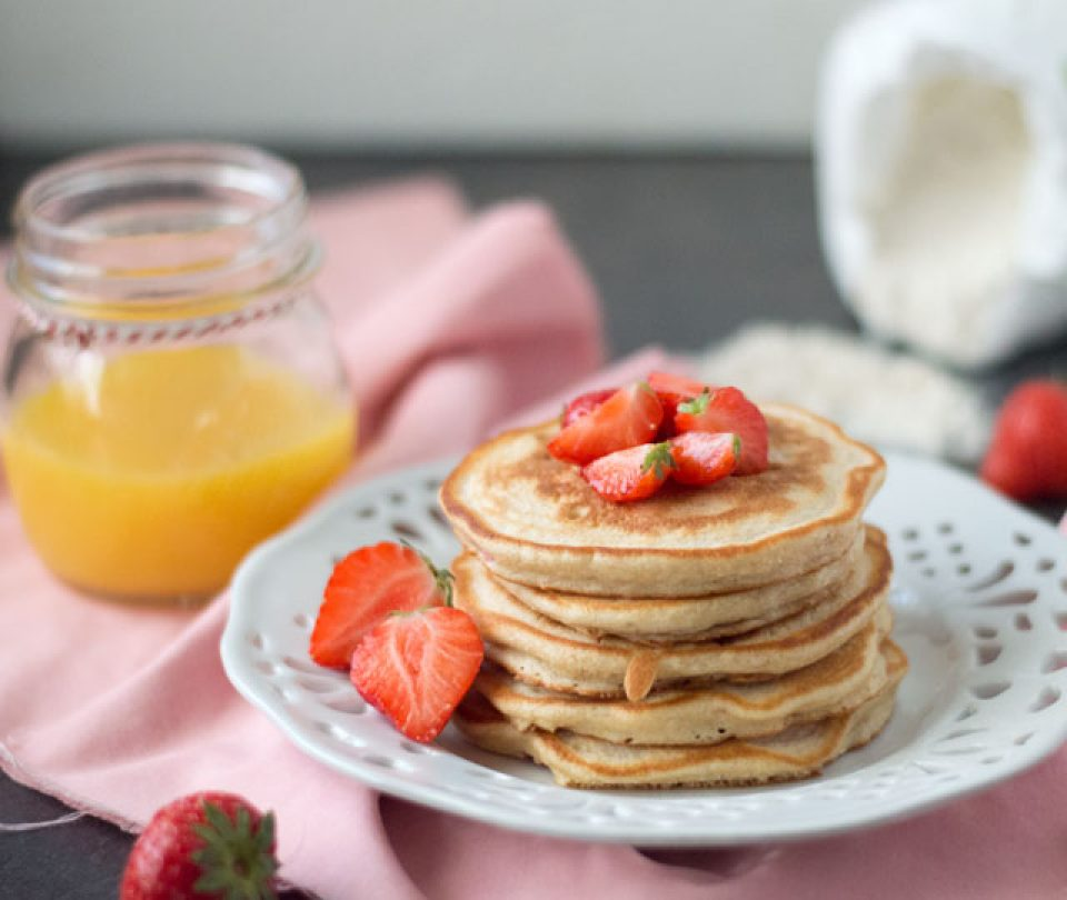 Pancakes met aardbeien
