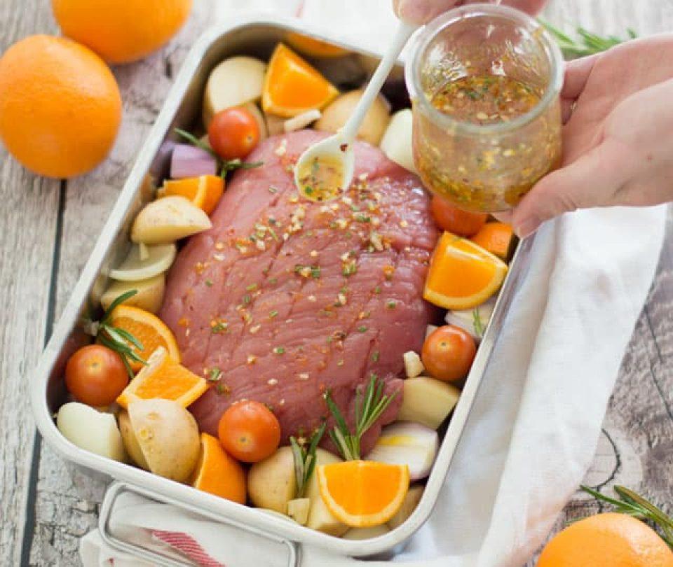 Beenham met sinaasappel en rozemarijn