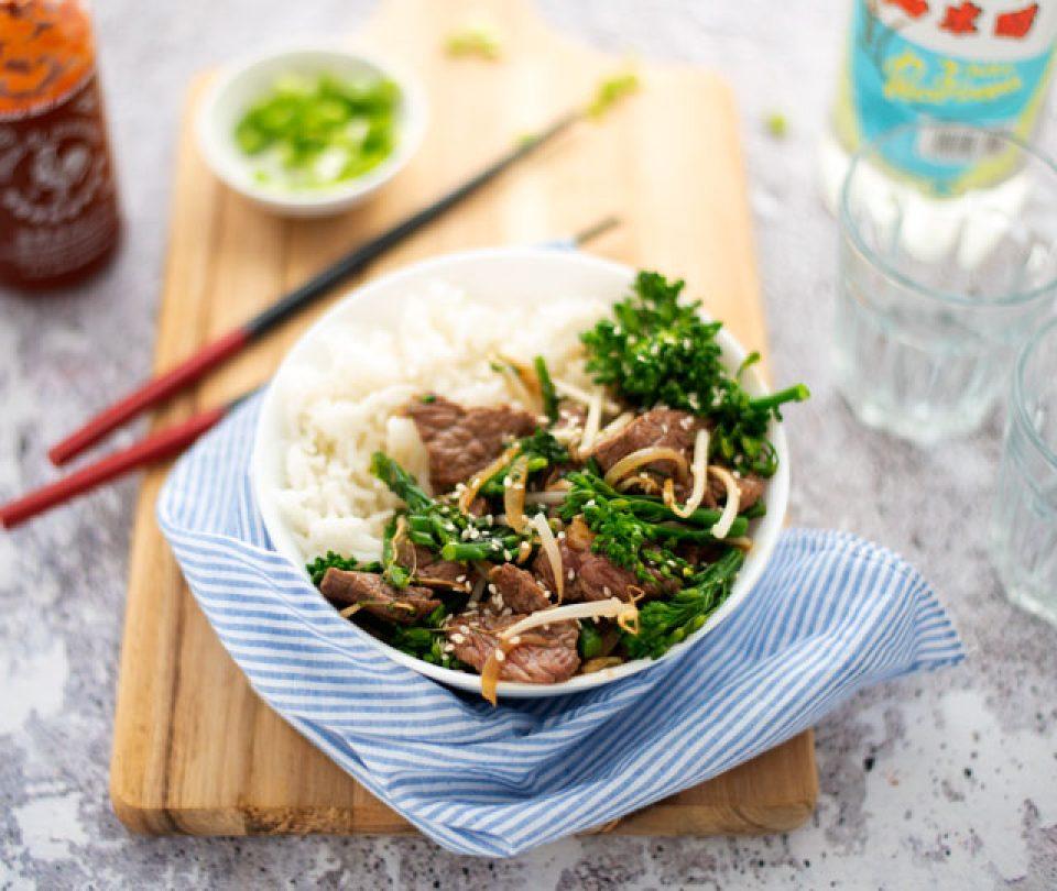 Biefstuk uit de wok met groenten