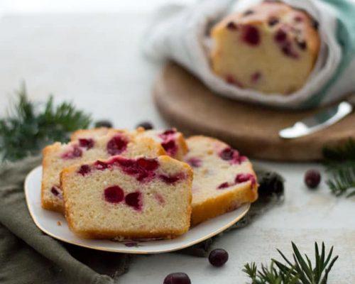 Cranberry cake met yoghurt