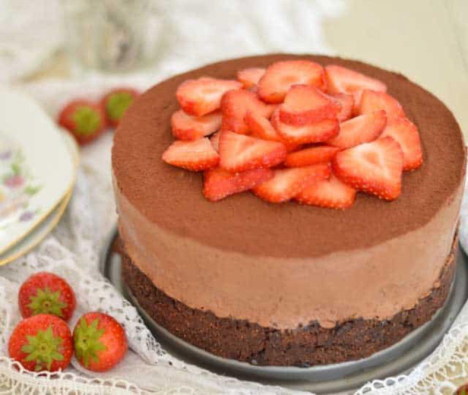 Chocolade cheesecake met een koekjesbodem