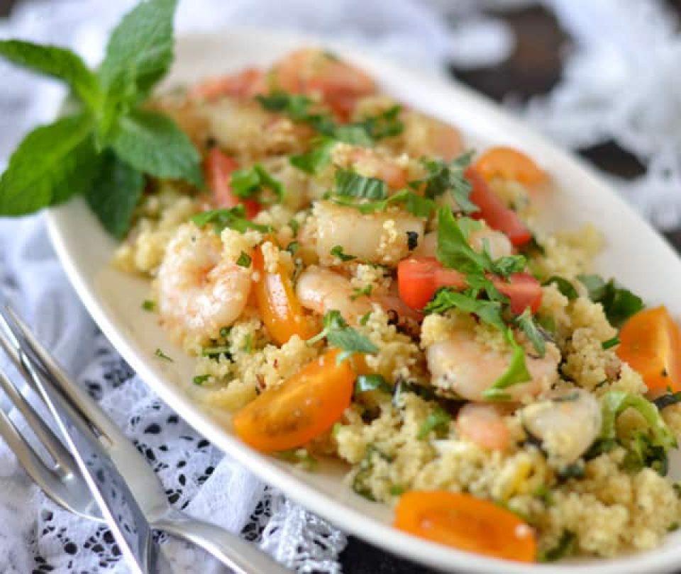 Couscous met knoflook garnalen
