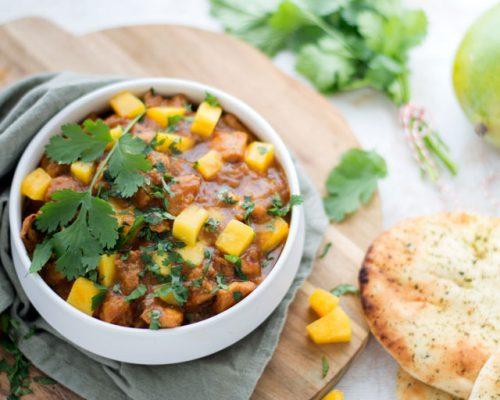 Curry met kip en mango
