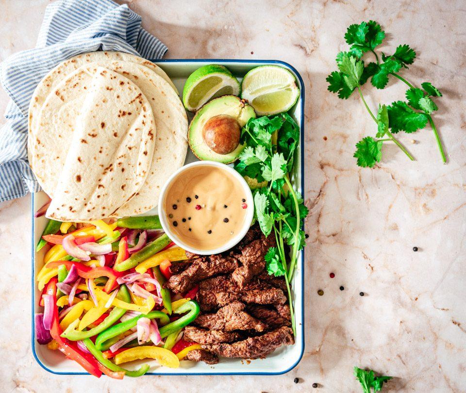 Fajita met biefstuk recept