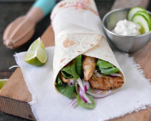 Griekse wraps met kip en tzatziki
