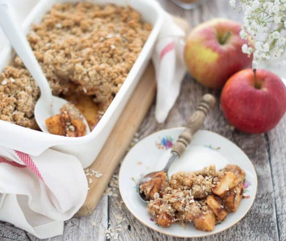 Havermoutcrumble met appel uit de oven