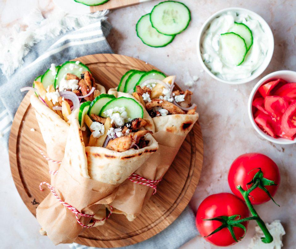 Kip gyros met pita en tzatziki