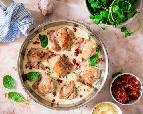 Kip in romige saus uit de oven recept