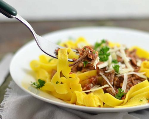 Pasta al ragù (slowcooker)