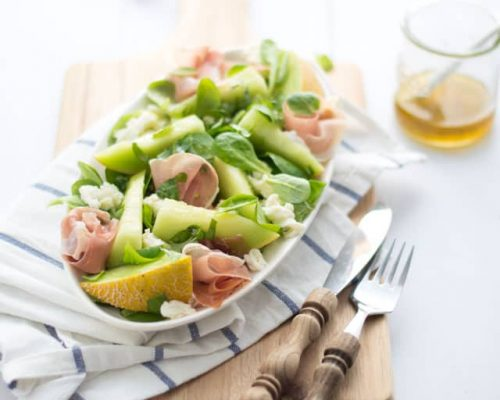 Salade met meloen en ham