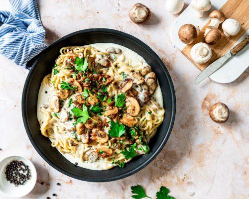 Spaghetti champignons roomsaus