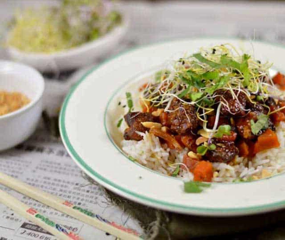 Vietnamees varkensvlees met karamel en wortel