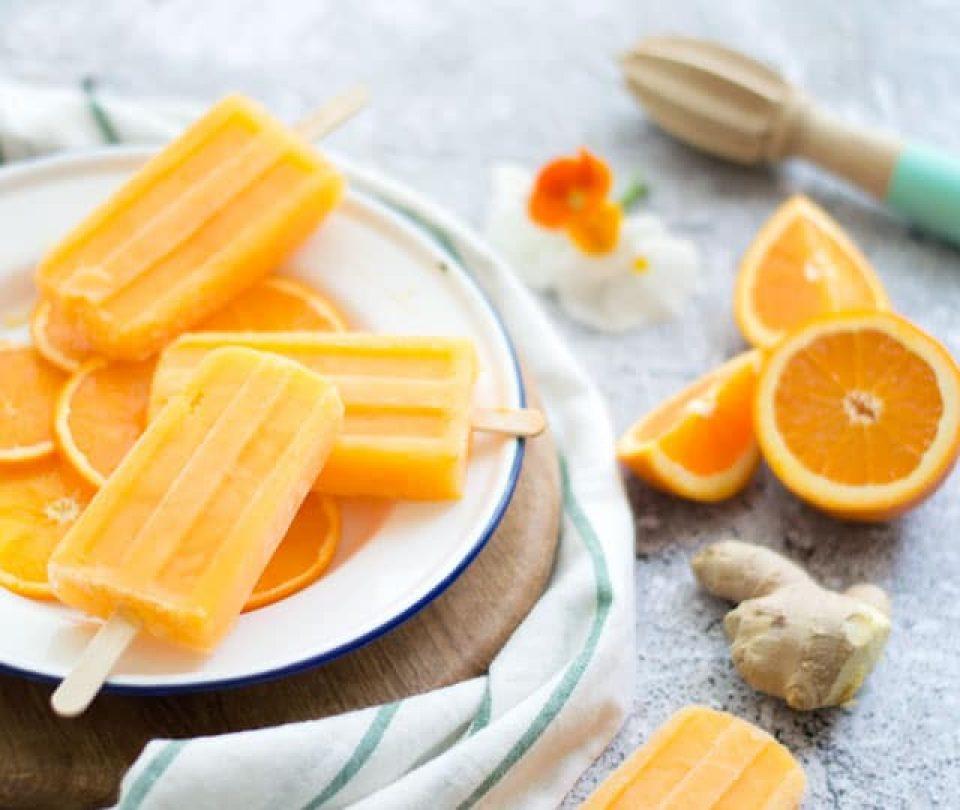 Waterijsjes met gember en sinaasappel