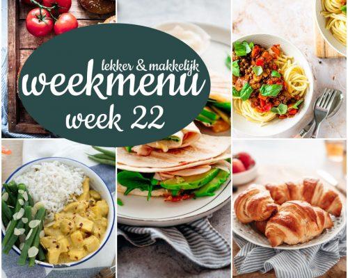 Lekker en makkelijk weekmenu – week 22 2021