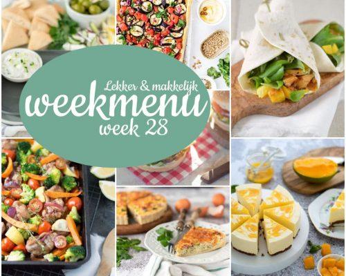 Lekker en makkelijk weekmenu – week 28