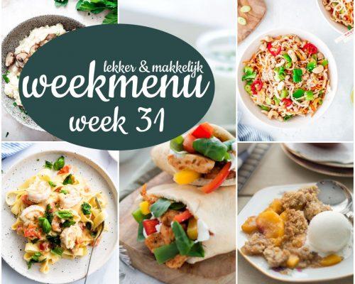 Lekker en makkelijk weekmenu – week 31 2021