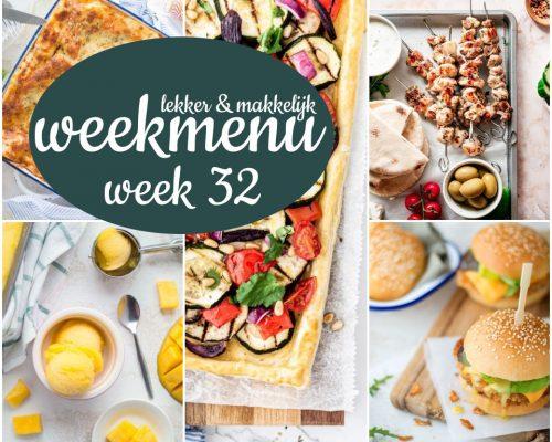 Lekker en makkelijk weekmenu – week 32 2021