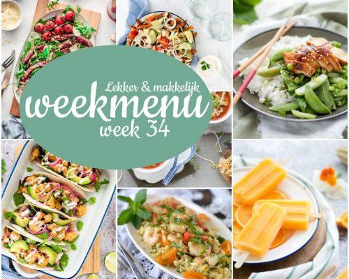Lekker en makkelijk weekmenu – week 34