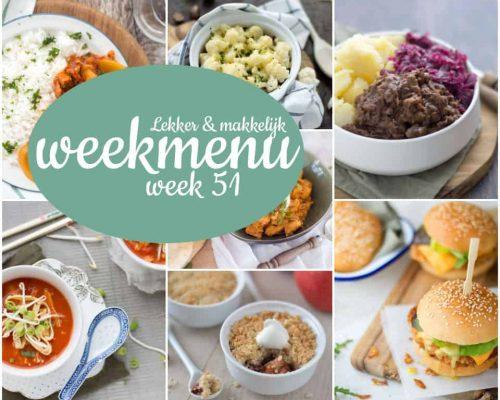 Lekker en makkelijk weekmenu – week 51